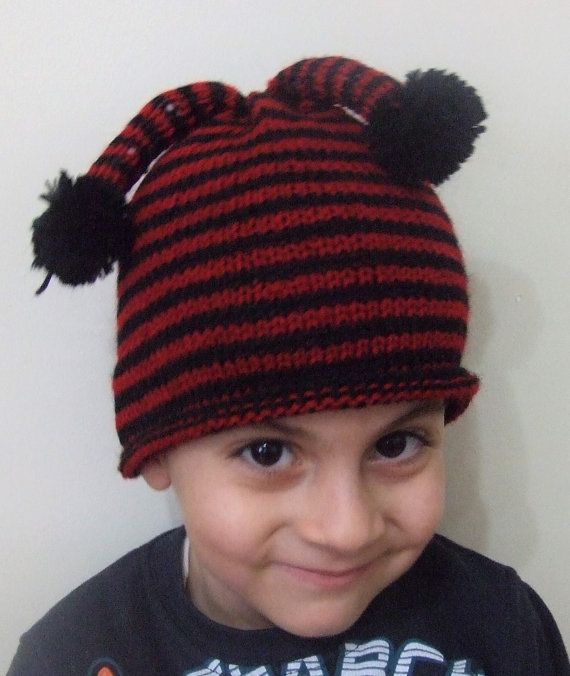 Children Hat Baby HatBaby Knit Hat Red and Black Hat by SELINCE
