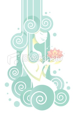 Young woman having a beneficial shower Royalty Free Stock Vector Art Illustration