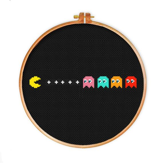 Pac-Man cross stitch pattern Instant Download by DazzlingDoilies