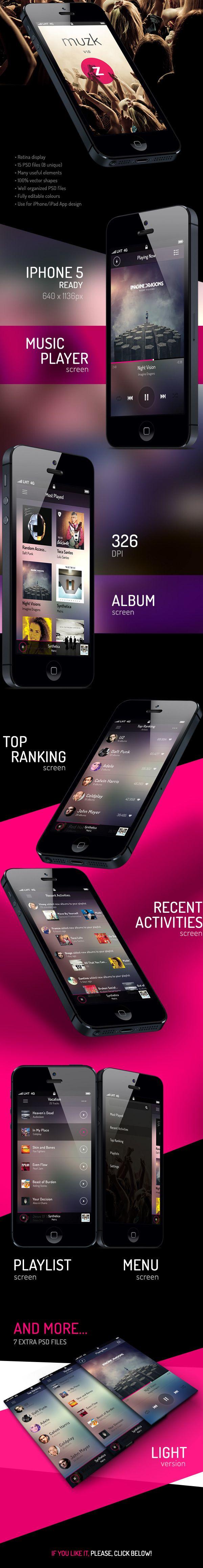 Muzk » Mobile App UI by Rodrigo Santino, via Behance #mobileui #uidesign
