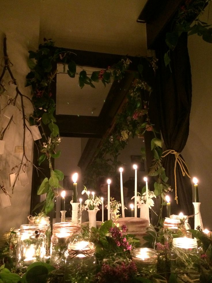 Our Imbolc Altar lit & lovely.