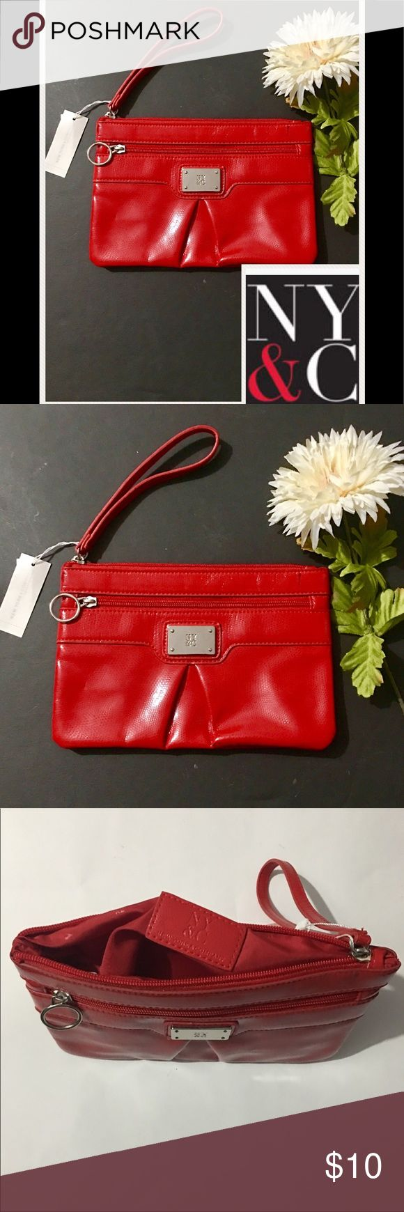 NY&C WRISTLET/CLUTCH NY&C WRISTLET/CLUTCH shinny red color New with tags with zipper compartment in the front  For cell phone and roomy inside to put your accessories  ADD TO BUNDLE to save shipping cost NY&C Bags Clutches & Wristlets
