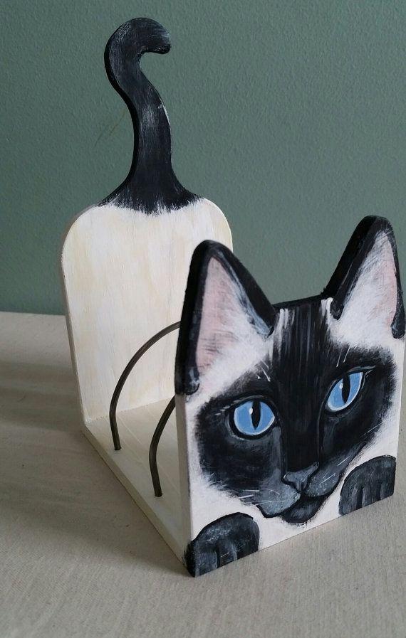 Siamese Cat Desk Organizer Letter Mail Holder von kittycatstudio