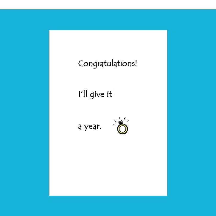 Funny Wedding Card,Congratulations I'll Give It One Year,Funny Engagement Card Friend,wedding card handmade, wedding card ideas, wedding card congratulations,wedding card homemade,wedding cards unique