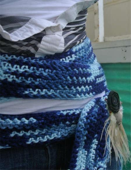 A long skinny crochet scarf becomes a great multi-wrap belt