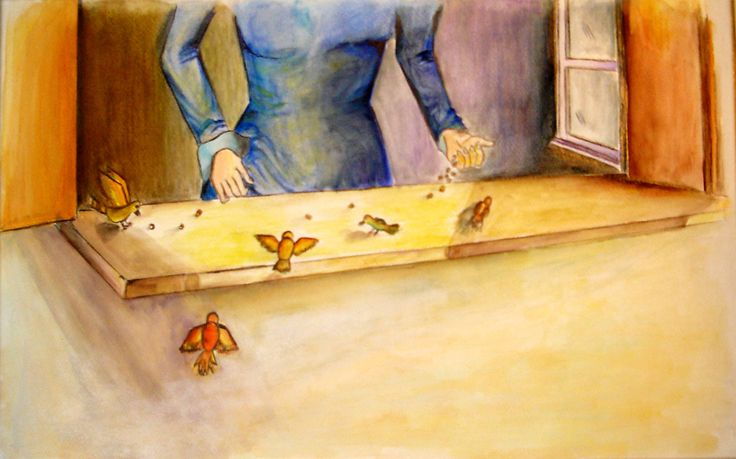"""by Argiro Stavrakou year 1996 - Illustrations for the children' s story """" the old ant Anna""""."""