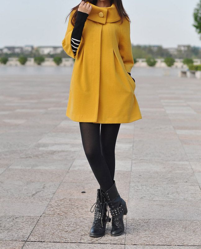 Yellow Cape Wool Coat Winter Woman Cloak Long Dress Coats Wool Cape Coat Jacket