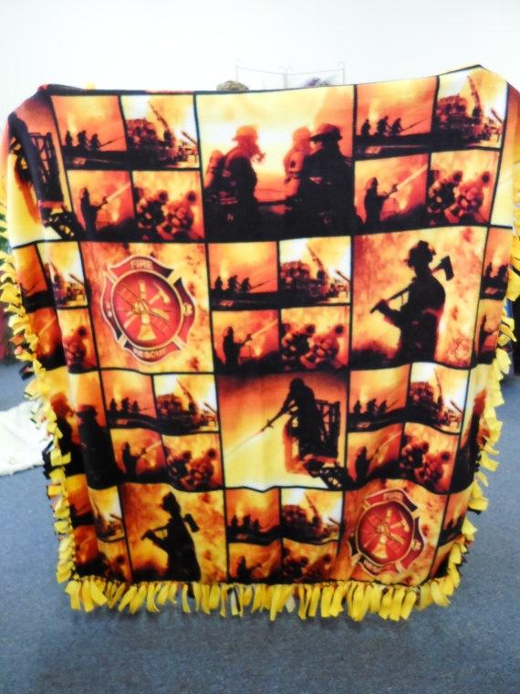 Firefighter fleece blanket by PatiDeesSewUnusual on Etsy, $55.00