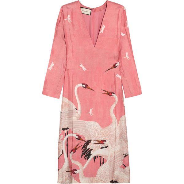 Gucci Printed silk-twill dress ($2,300) via Polyvore featuring dresses,  gucci,