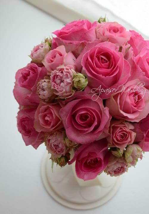 ウエディングブーケ♡ピンクのローズをたっぷり入れて の画像 ウエディングブーケ&フラワーアレンジメント教室 福岡アペゼ
