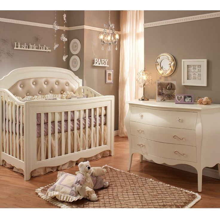 Natart Allegra 2 Piece Nursery Set In French White Crib And 3 Drawer Dresser