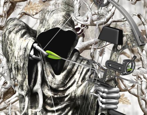 Grim Reaper Bow Hunter Winter Camo Vinyl Graphic Decal Sticker Wrap Truck Car