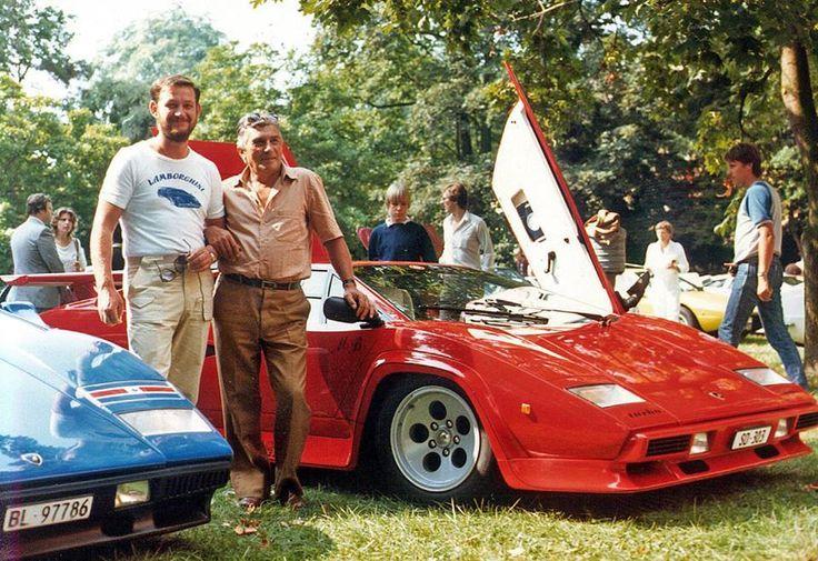 Ferruccio Lamborghini (right) with factory test driver Valentino Balboni (left)