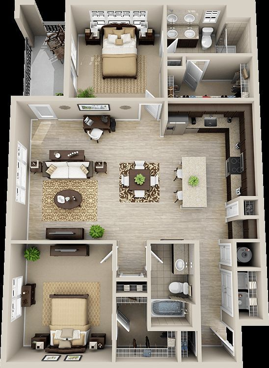3d floor plan apartment - Google Search: