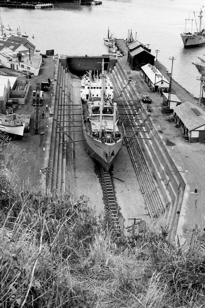 Ship in dry dock at Lyttelton Port, New Zealand1968.