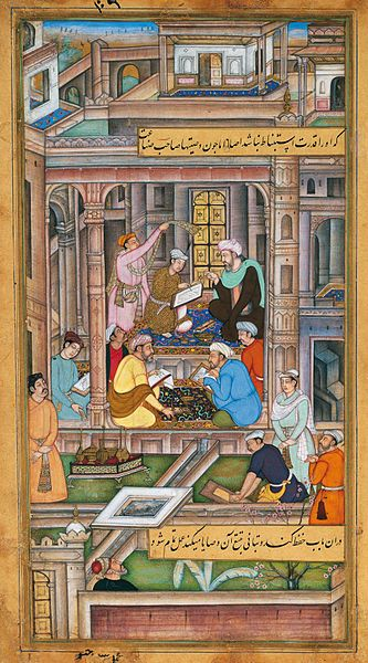 Mughal miniatures, 1590-95, Anonymous: Artists and calligraphers at work