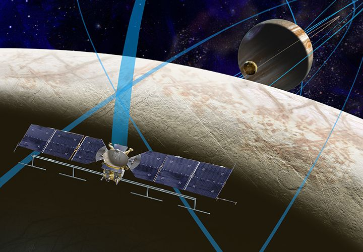 NASA's Europa Mission begins with selection of science instruments.....Color illustration of spacecraft concept at Europa.