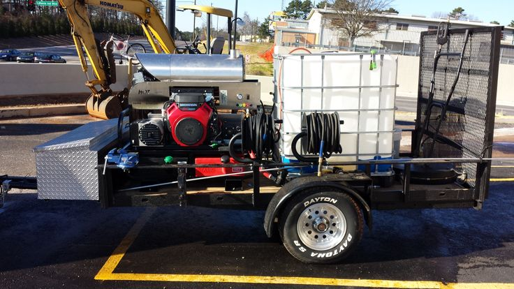 Rent to Own 8.0 GPM hot water pressure washer trailer.