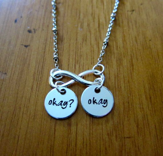 "The Fault in our Stars necklace Inspired ""Okay? Okay"". Hazel Augustus. Okay Okay. Infinity The Fault in Our Stars necklace. TFIOS necklace"