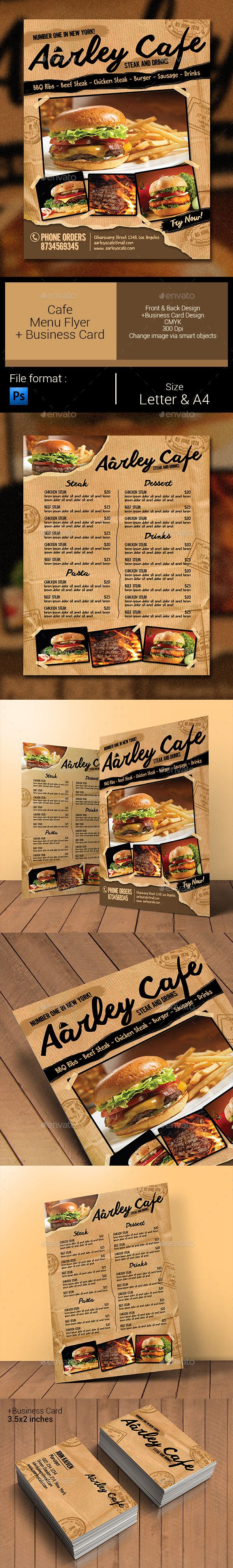 Cafe Menu Flyer + Business Card Template #design Download: http://graphicriver.net/item/cafe-menu-flyer-business-card/11330096?ref=ksioks