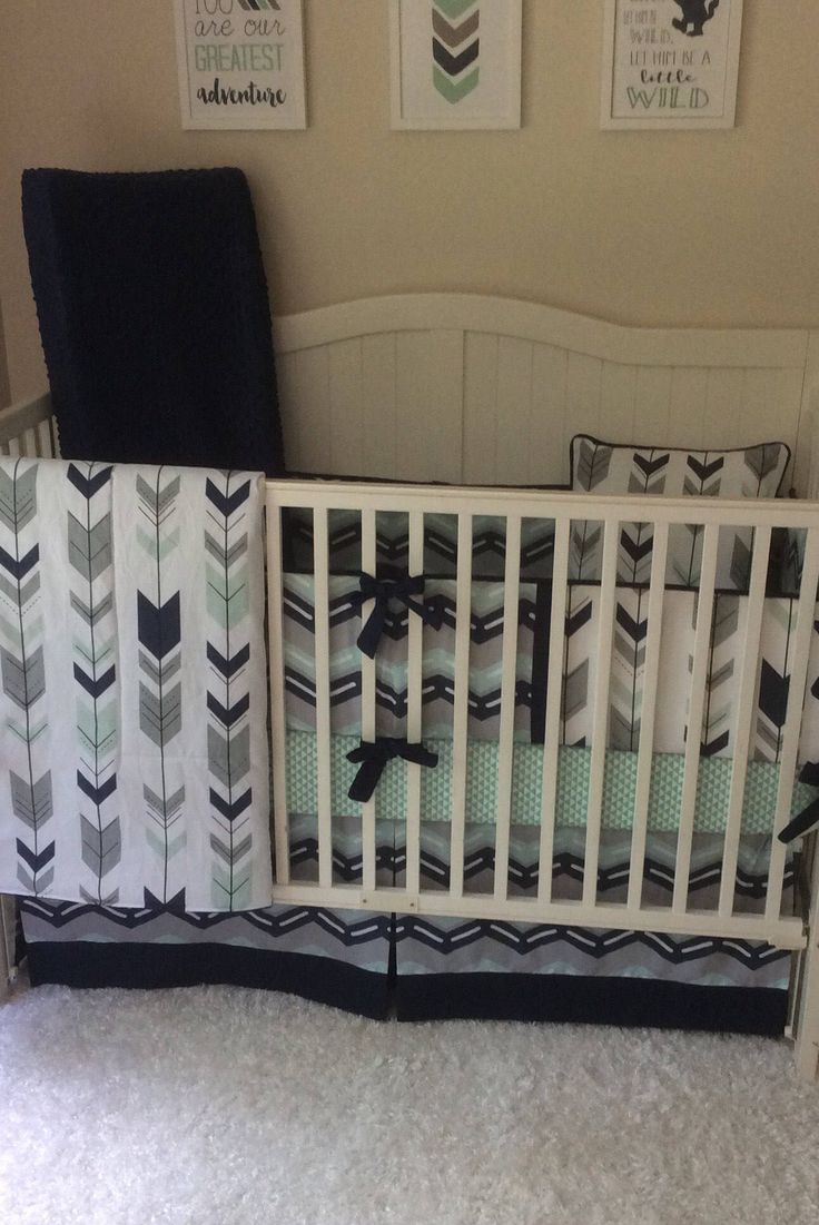 Crib bedding set gray white navy blue with by butterbeansboutique - Baby Boy Crib Bedding Set Navy Mint And Gray Arrows Complete Set