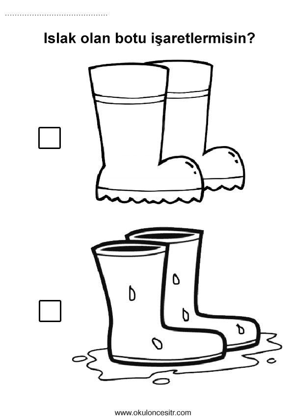 Islak Kuru Kavramı Panofr63 Education Preschool Worksheets Ve