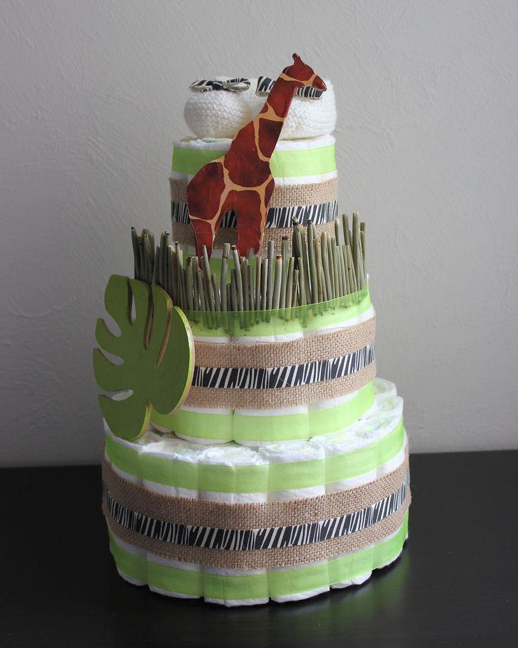 Diaper Cake | Gâteau de couches thème safari