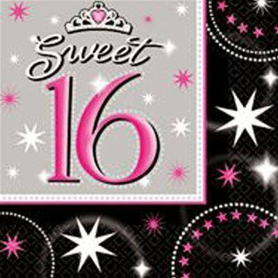Sweet 16 servetten. 16 stuks sweet 16 servetten met een afmeting van 33 cm. De sweet 16 servetten zijn zwart met roze en wit. Voor meer sweet 16 artikelen kijk bij ons in de winkel.