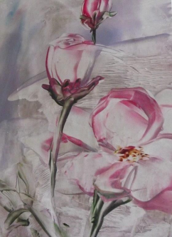 Flowers done with encaustic iron by Lizbeth