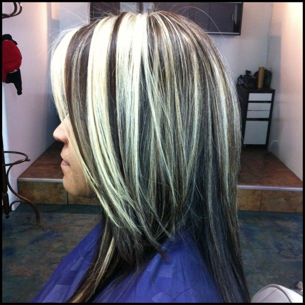 Platinum Blonde Chunks W Truffle Brown Base And Cut Make