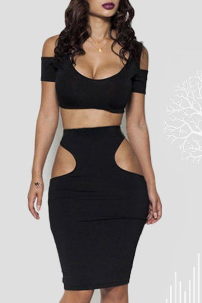 Sexy Scoop Neck Various Cut Out Crop Top and Black Bodycon Skirt Twinset For Women