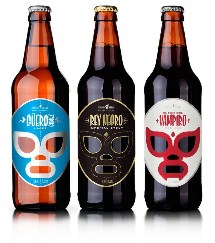 Cervecería Sagrada - Mexican beer. Fantastic Mexican wrestling themed packaging.