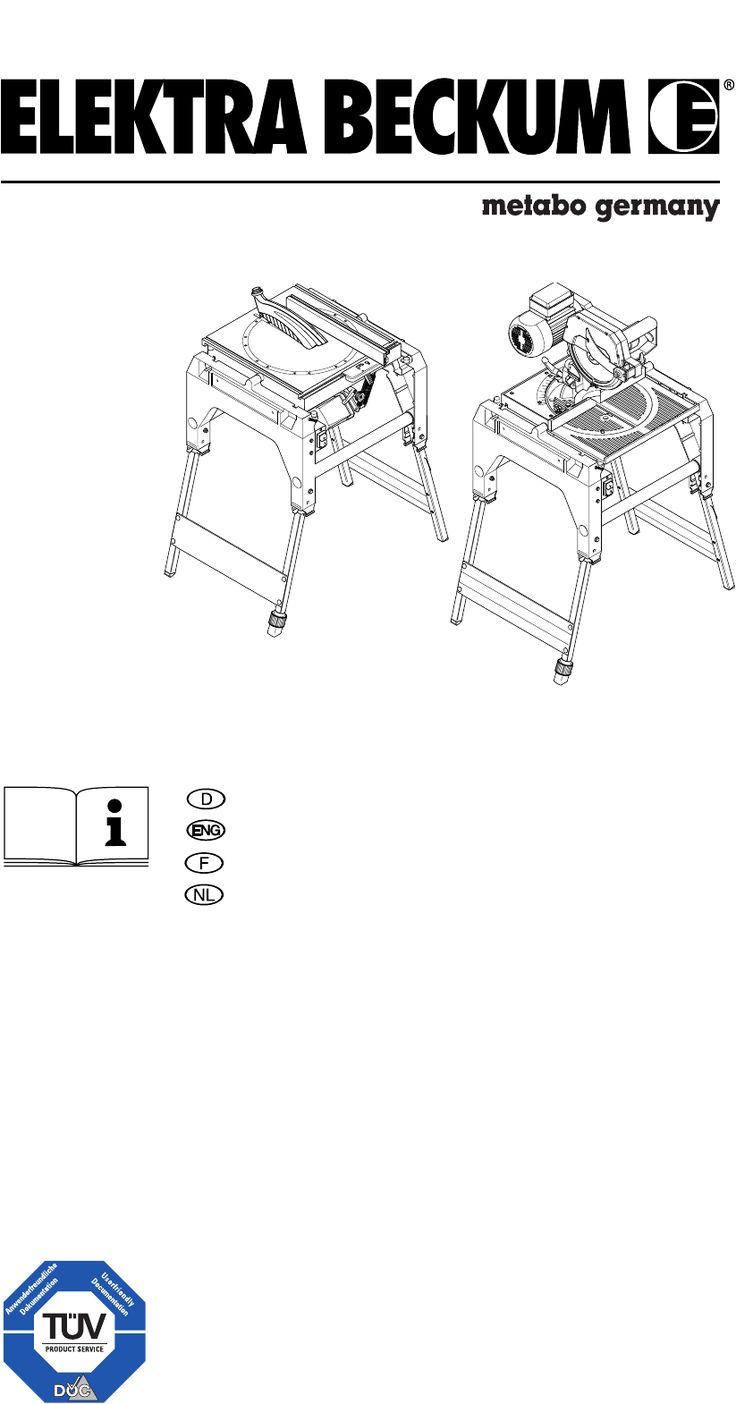 Handleiding Metabo KGT 501 (pagina 1 van 60) (9,25 mb Nederlands)