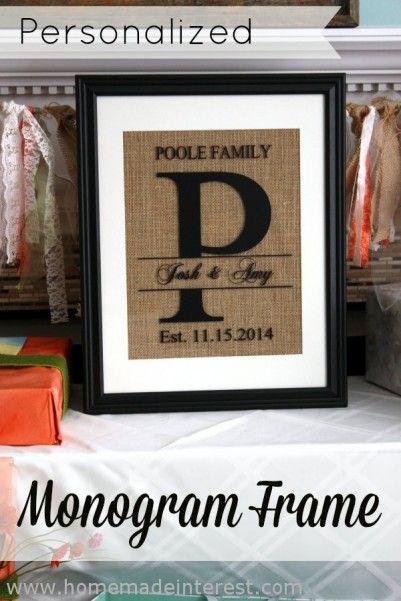 Monogram Wedding Gifts Ideas: Personalized Monogram Frame
