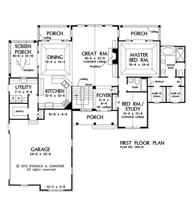 first floor plan of the rainey house plan number perfect for sloping lot hisher closets - Colonial Lake House Plans