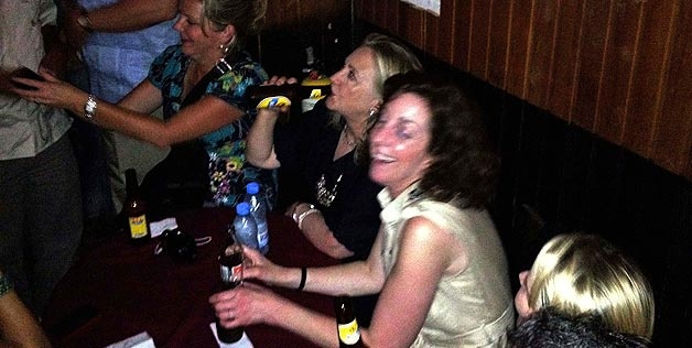 Party girl Hillory Clinton rockin the house in Cafe Havana in Colombia.