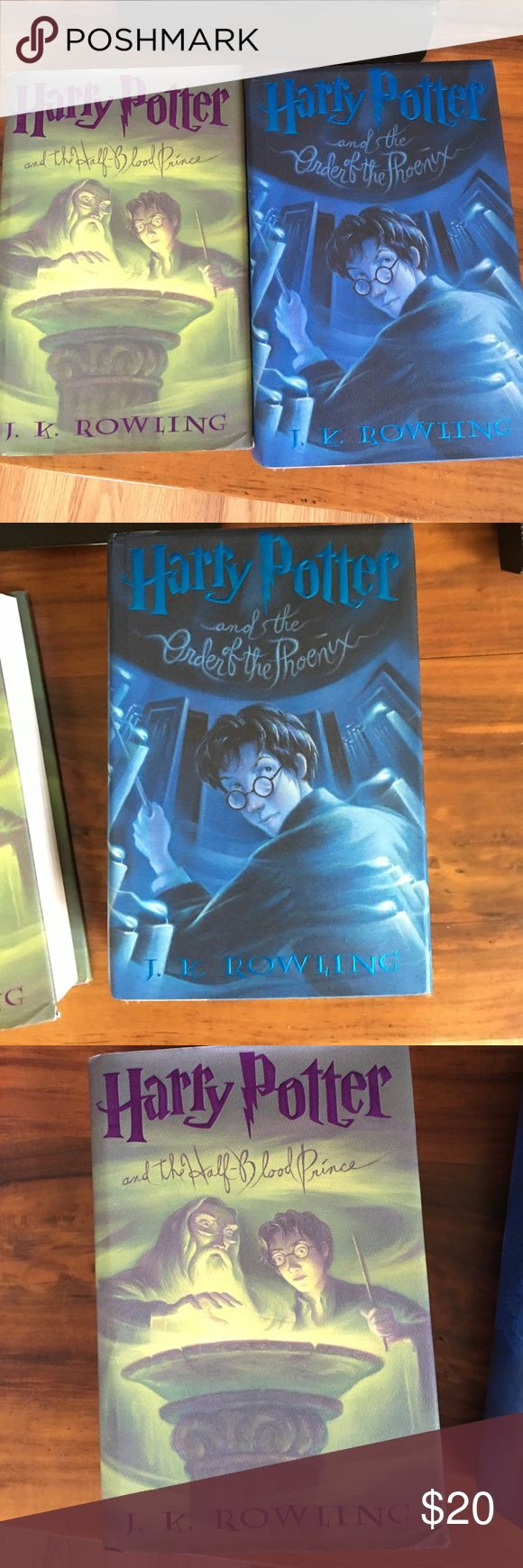 Bundle of 5 books Harry Potter and the order of the Phoenix. Harry Potter and the half-blood Prince. Both books are hard covers and in excellent condition. (Twilight, New Moon, and Eclipse books. All old books but still readable. New Moon is a hardcover and the others are soft cover.) 😍😍 This is a bundle and price is for all 5 books. Visit my closet for many great items and receive a 10% when you purchase 3+ bundled items. Other