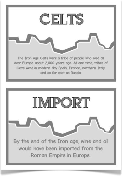 Iron Age Fact Cards - Treetop Displays - A set of 20 A5 fact cards that give fun and interesting facts about the Stone Age. Each fact card has a key word heading, making this set extremely useful for building on topic vocabulary! Visit our website for more information and for other printable resources by clicking on the provided links. Designed for Early Years (EYFS), Key Stage 1 (KS1) and Key Stage 2 (KS2).