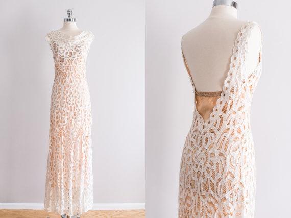 NEW LISTING Vintage 1930s Bias Cut Battenburg Lace By EmmelineChic 58900 Wedding GownsBoho