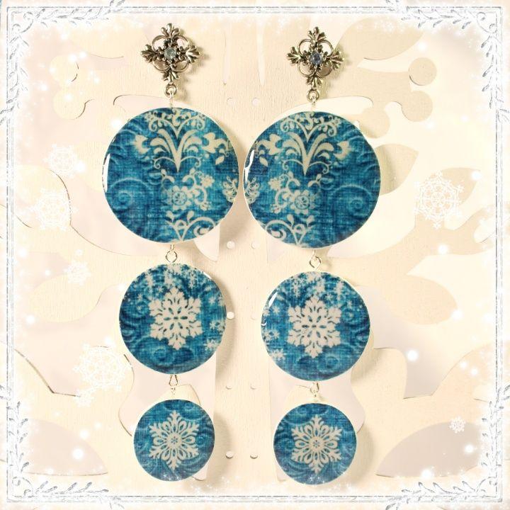 """Polymer Clay Earrings """"Winter"""".  7 cm."""