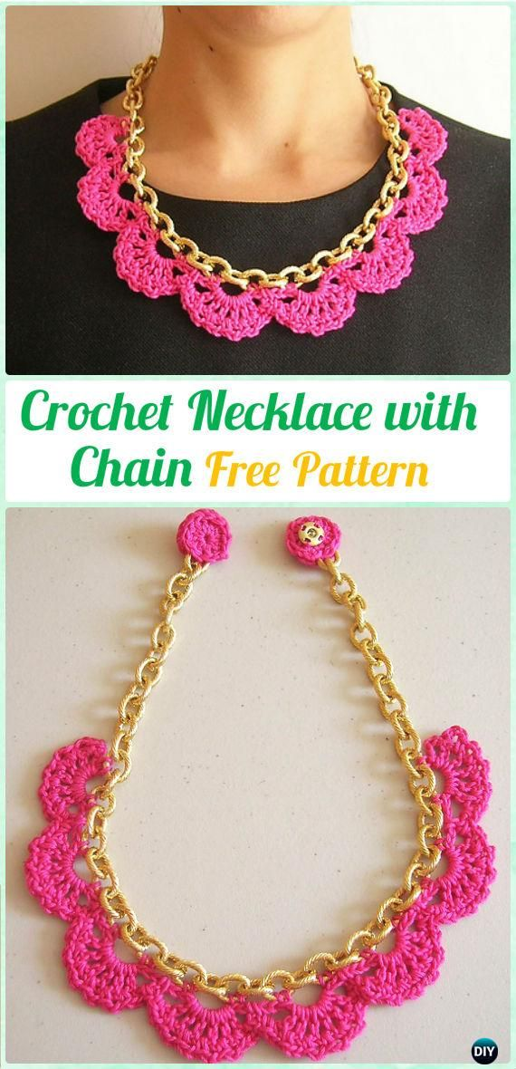 Crochet Necklace with Chain Free Pattern #Crochet #Jewelry Necklace Free Patterns