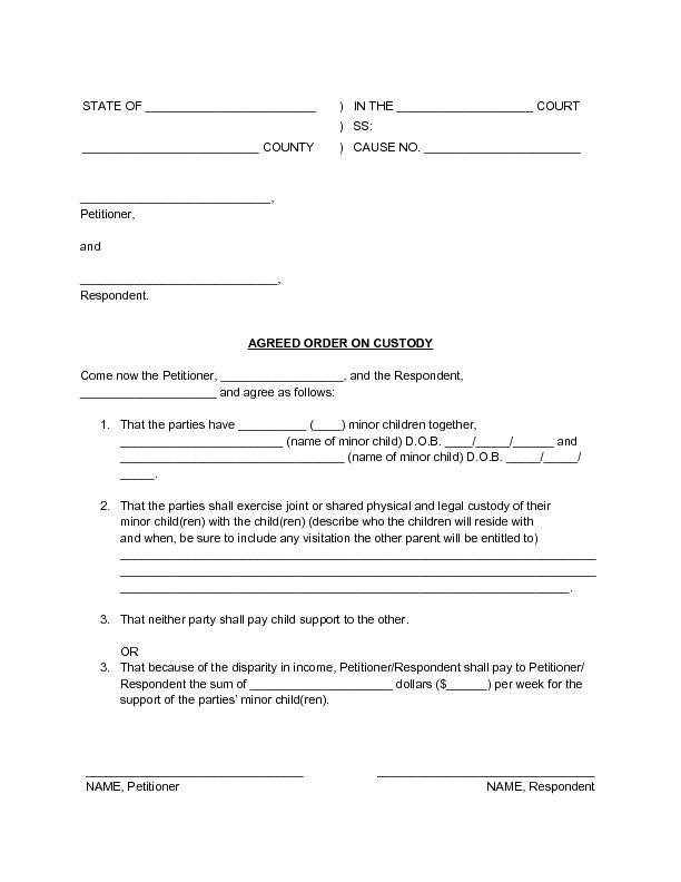 54 Awesome D Custody Agreement Form Joint Custody