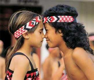 a hongi, a Maori greeting // you press your foreheads together and breathe in…