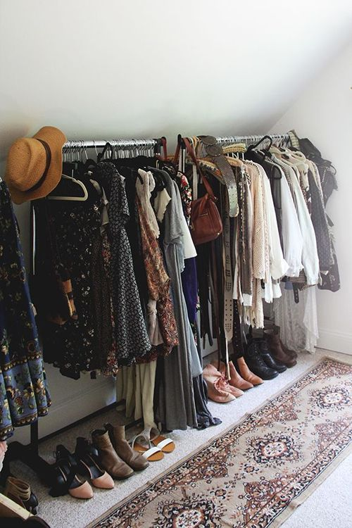Isn't this a dream we all have? Perfect-- open spaces to display your lovely wardrobe.