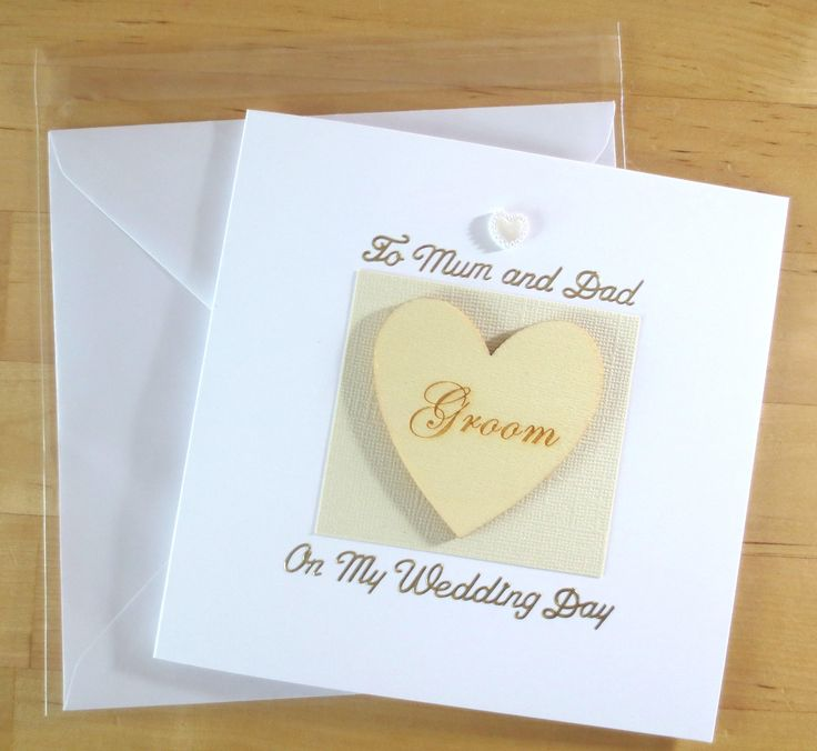 Card from Groom to parents, To mum and dad from groom, From groom on wedding day card, card from groom on wedding day,  Wedding day card by FyneHandmadeCards on Etsy