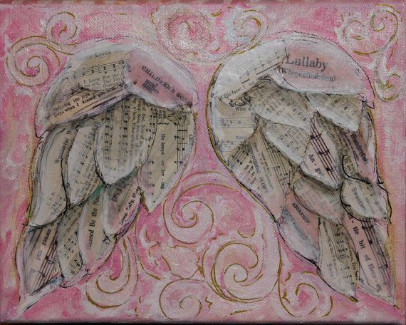 Angel Wings mixed media on gallery wrapped by MichelleLakeArt