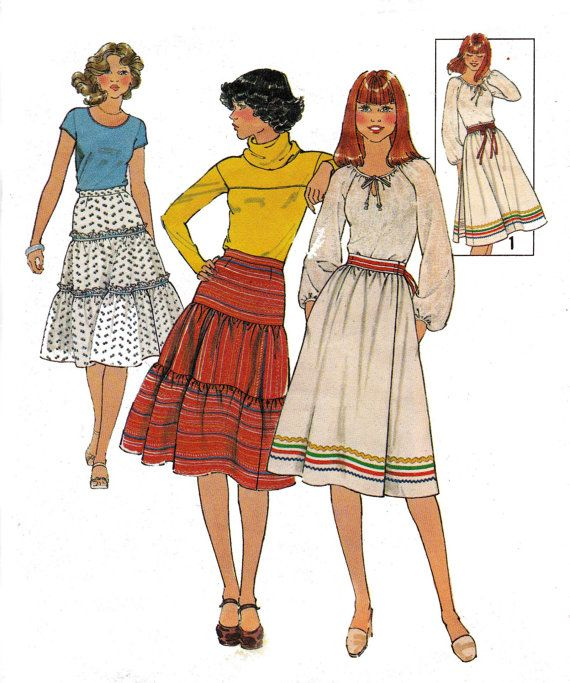 70s Boho Peasant Skirt Pattern Pattern by allthepreciousthings