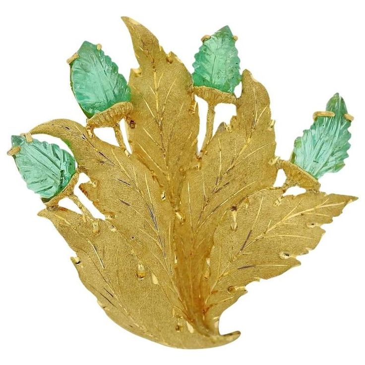 Buccellati Carved Emerald Leaf Motif Gold Brooch Pin | From a unique collection of vintage brooches at https://www.1stdibs.com/jewelry/brooches/brooches/