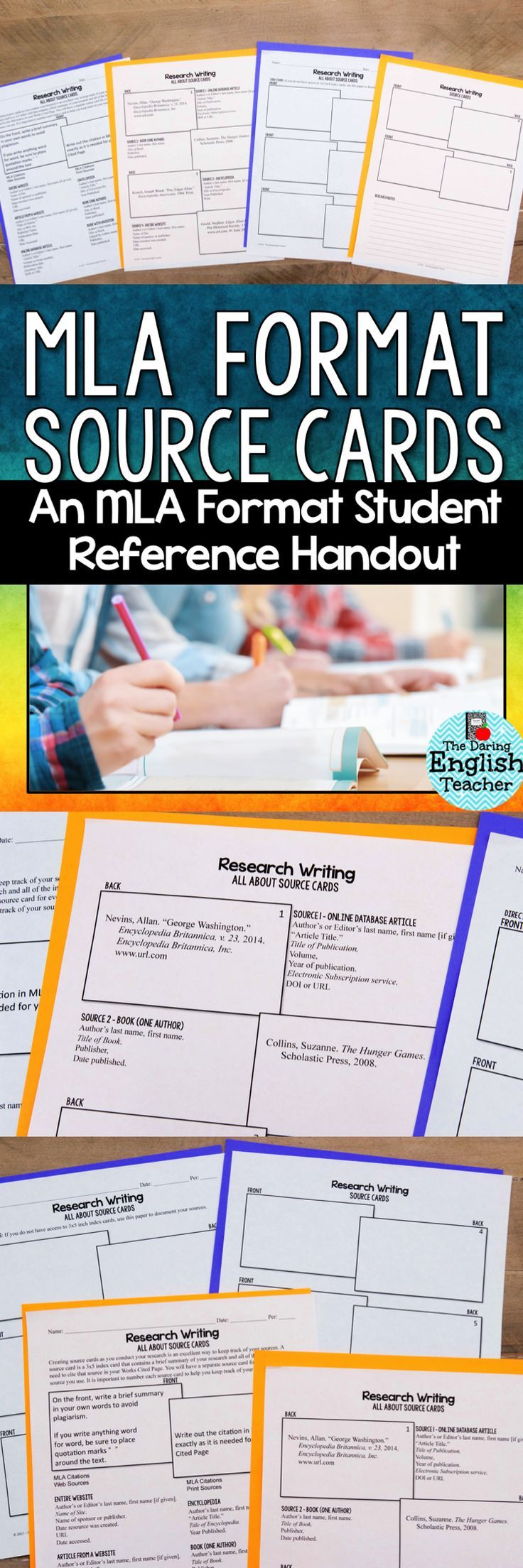 8th Edition MLA Format source cards. This resource includes 4 pages: a double-sided student reference guide and a double-sided graphic organizer. Ideal for the secondary ELA classroom. Research writing. MLA format.