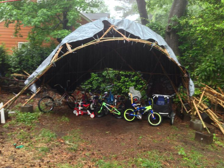 Bamdoma The Bike Shelter Temporarily Roofed With A Tarp